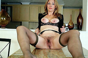 Curvaceous mature wife in stockings