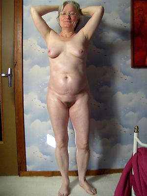 Nude old women closely-knit tits