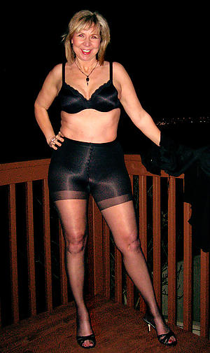Humble mature in pantyhose