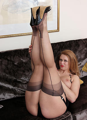 Gorgeous mature wife in stockings