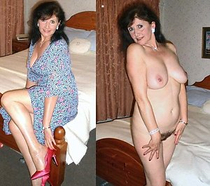 Handsome mature wife dressed undressed