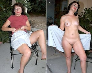 Beautiful older wife dressed undressed