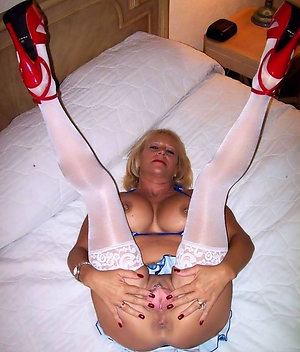 Naked mature women in stockings and heels